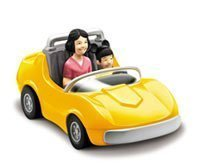 Chevron Cars Classic, The Autopia Cars, Disneyland, 2 Piece Set, Yellow Car with Removable Toy Passengers - 1