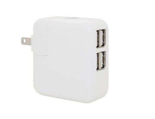 Skydeo 12W 4-Port Usb Wall Charger / Rapid Travel Charger Portable Charger For Iphone 5S, 5C, 5, 4S, 4; Ipad 5, Air, Mini; Ipod Touch, Nano; Samsung Galaxy S4, S3, S2, Galaxy Note 3, 2; Lg G2; Ps 4; Nexus 5, 7, 10; Motorola Droid Razr Maxx; Blackberry; No