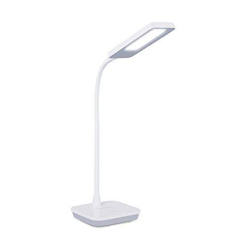 LED-Schreibtischlampe-Tischleuchte-3-Helligkeitsstufen-Touchfeldbedienung-6W-800LUX-3-Level-Dimmer-Flexible-Arm-Wei