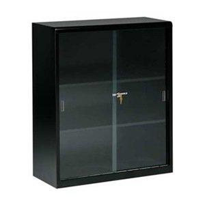 Glass Door Bookcase, 42H, Blk