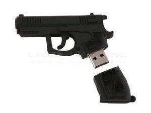 16Gb Black Gun Shaped Cute Cartoon Usb Flash Drives, Data Storage Device, Usb Memory Stick Pen, Thumb Drive