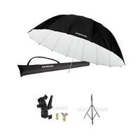 Westcott 7 Feet Parabolic Umbrella, White/Black BUNDLE with Umbrella Bracket / Adjutsable Flash Mount – 8.5′ Black Lightstand