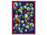 "Joy Carpets Kid Essentials Early Childhood Joyful Faces Rug, Blue, 7'8"" x 10'9"""