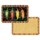 Hot Chili Peppers Reversible Washable Vinyl Placemats Set of Four