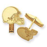 14K Cleveland Browns Helmet Cuff Links - JewelryWeb
