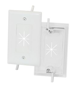 Installerparts 1-Gang Feed-Through Wall Plate with Flexible Opening, White