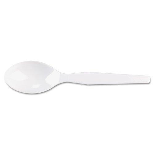 Dixie Plastic Tableware, Heavy Mediumweight Teaspoons, White - Includes ten packs of 100 each.