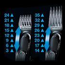 8 Längeneinstellungen für das Haareschneiden