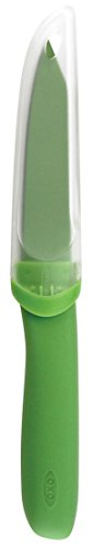 Oxo Good Grips 4-Inch Non-Stick Paring Knife With Blade Cover, Green
