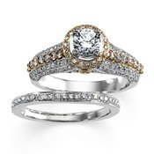 14K White Gold 1/10 Ct Tw Band Two Tone Bridal Engagement Semi Set