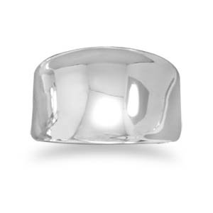 Sterling Silver Wide Concave Ring / Size 8