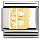 Composable Classic LETTERS in stainless steel , 18k gold and Cubic zirconia (B)