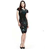 M&S Collection Placement Jewel Print Pleated Dress