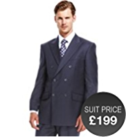 Sartorial Pure New Wool Double Breasted 2 Button Striped Jacket