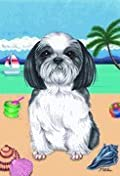 Shih Tzu Black/White by Tomoyo Pitcher, Summer Themed Dog Breed Flags 28'' x 40''