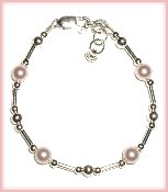 Liquid Silver w/Pink Pearl Sterling Silver Infant Baby Bracelet 0-12 months, Czech Pink Pearls