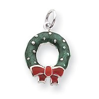 Sterling Silver Rhod Enameled Wreath Charm - JewelryWeb