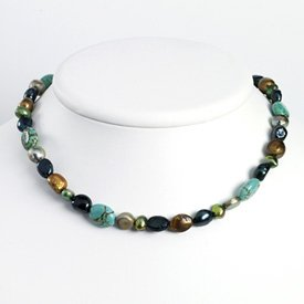 Sterling Silver Grey & Green Cultured Pearls/Turquoise Necklace - QH2679-16