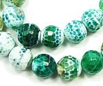 Green fire agate faceted round beads (12mm, 14.5 inch strand)