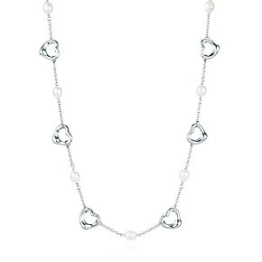 Sterling Silver Pearl and Open Heart Necklace