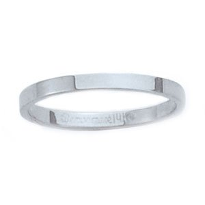 14K White Gold 2mm Flat Traditional Fit Wedding Band Ring (Sizes 4 to 8). BENCHMARK - Lifetime Warranty - Lifetime Warranty