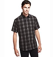 Classic Collar Space Dye Checked Shirt