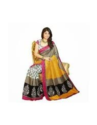 SHABNAMMysore Silk Yellow Traditional Print Saree With Pink Border