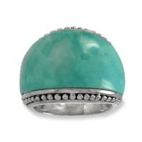 .925 Silver & Turquoise Dome Ring, Sizes 6-8