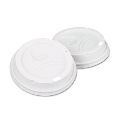 Dome Drink-Thru Lids, Fits 10, 12 & 16 oz. Paper Hot Cups, White