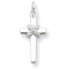 Genuine IceCarats Designer Jewelry Gift Sterling Silver Freeform Cross Pendant