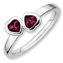 0.65ct Silver Stackable Rhodolite Garnet 2 Hearts Ring. Sizes 5-10