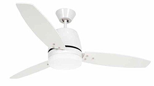 Ventilatore da soffitto con luce PERENZ-7144B Diametro 130 cm Corpo in metallo colore bianco 3 pale Telecomando a infrarossi incluso 3 velocità Funzione reversibilità della rotazione kit luce in vetro 2xE27 max 40W