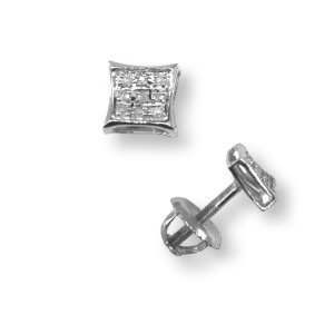 Genuine Diamond Micro Pave Stud Earrings 5mm Rhodium on Sterling Silver 18 Total Diamonds