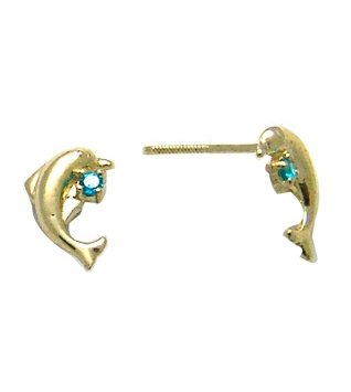 14K Yellow DOLPHIN BABY SCREW Earring (aqua)