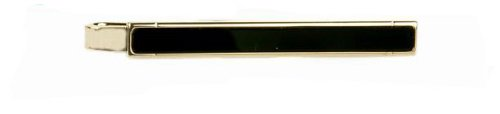 Classic yellow gold plated and onyx tie slide with presentation box