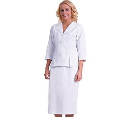 White Swan 3/4 Sleeve White 2 Piece Suit With Embroidered Collar -Great for Nursing
