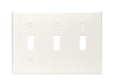 Leviton 88011 3-Gang Toggle Device Switch Wallplate, Standard Size, Thermoset, Device Mount, White