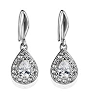 M&S Collection Platinum Plated Diamanté Sparkle Pear Drop Earrings