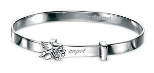 Unique Wishlist Children's Sterling Silver Diamond Angel Expandable Bangle