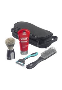 Kent Shaving Brush with Hairbrush and Razor Travel Kit
