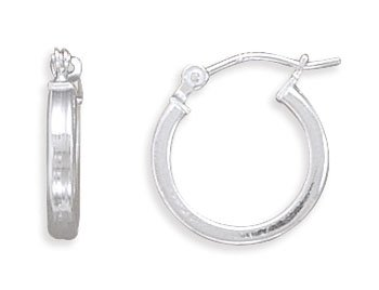 Jewelry Locker 2mm x 14mm Square Tube Hoop Earrings