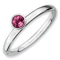 0.28ct Silver Stackable Round Pink Tourm. Ring Band. Sizes 5-10