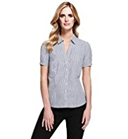 M&S Collection Open Neck Collar Dobby Quick Iron Striped Shirt