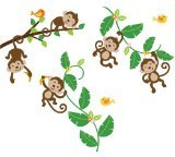 CherryCreek Decals Monkeys Swinging On Vines Giant Peel and Stick Nursery/Baby Wall Sticker Decal