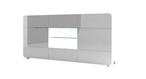 Sideboard-180-cm-BUMP-weiss-Lack-hochglanz-Schrank-Vitrine-Kommode-Glas-3-trig