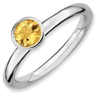 0.44ct Silver Stackable High 5mm Round Citrine Ring. Sizes 5-10 Available