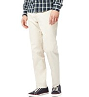 Pure Cotton Flat Front Straight Fit Trousers