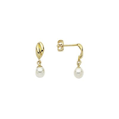 18K Yellow Gold - Cultured Pearl - Drop Earrings