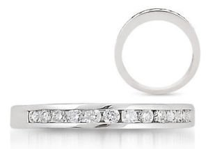 finediamondsrus Channel Set 0.10ct Round Cut Diamonds Half Eternity Wedding Ring ,9K White Gold - UK Size J ½