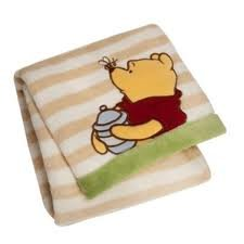 Disney Pooh Printed Embroidered Boa Blanket - 1